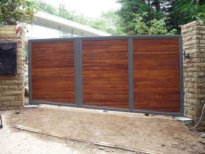Automated residential wooden gates for Wooden sliding driveway gates